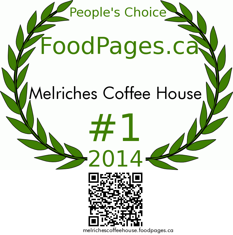 Melriches Coffee House FoodPages.ca 2014 Award Winner